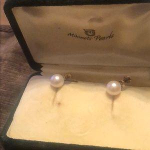 VintageMikimoto Pearls & vintage earrings